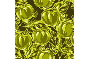 Seamless pattern with apples and