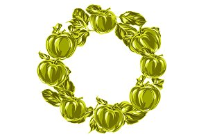 Wreath with apples and leaves.