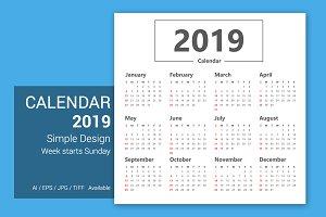 Calendar 2019 Simple Design