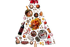 Christmas tree made with foods
