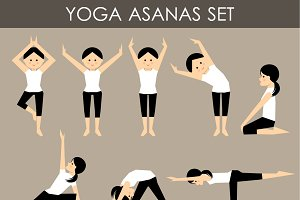 Asanas in yoga.