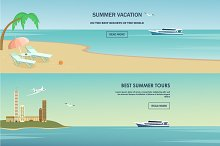 Summer vacation greeting card design