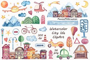 Watercolor city life clipart