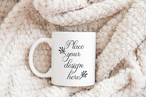 Winter coffee mug mockup xmas mock