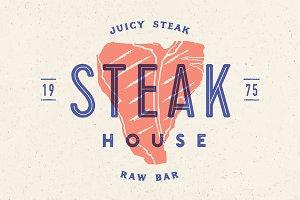 Steak, logo, meat label. Logo with