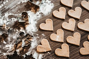 Christmas Baking Gingerbread Hearts