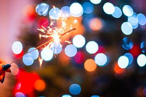 Sparklers and Christmas Bokeh