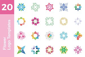 20 Logo Flower Templates Bundle