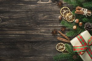 Christmas food background with