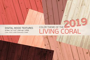 Living coral color wooden background