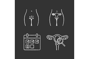 Gynecology chalk icons set
