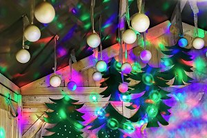 Bright stall with Christmas tree