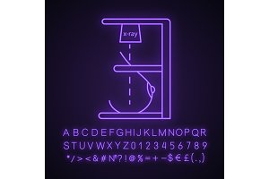 Mammography neon light icon