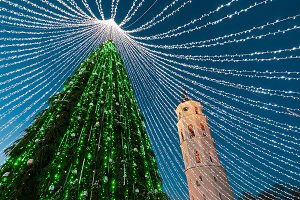 Christmas tree &Cathedral bell tower