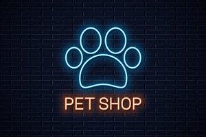 Pet shop neon logo.