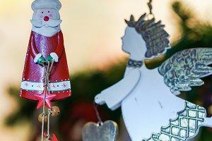 Santa Claus and Xmas decorations