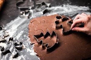 Cutting Christmas Gingerbread Dough