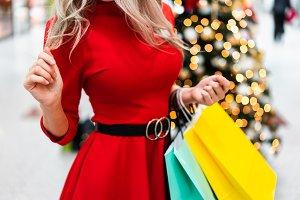 Christmas Shopping Woman Red Dress