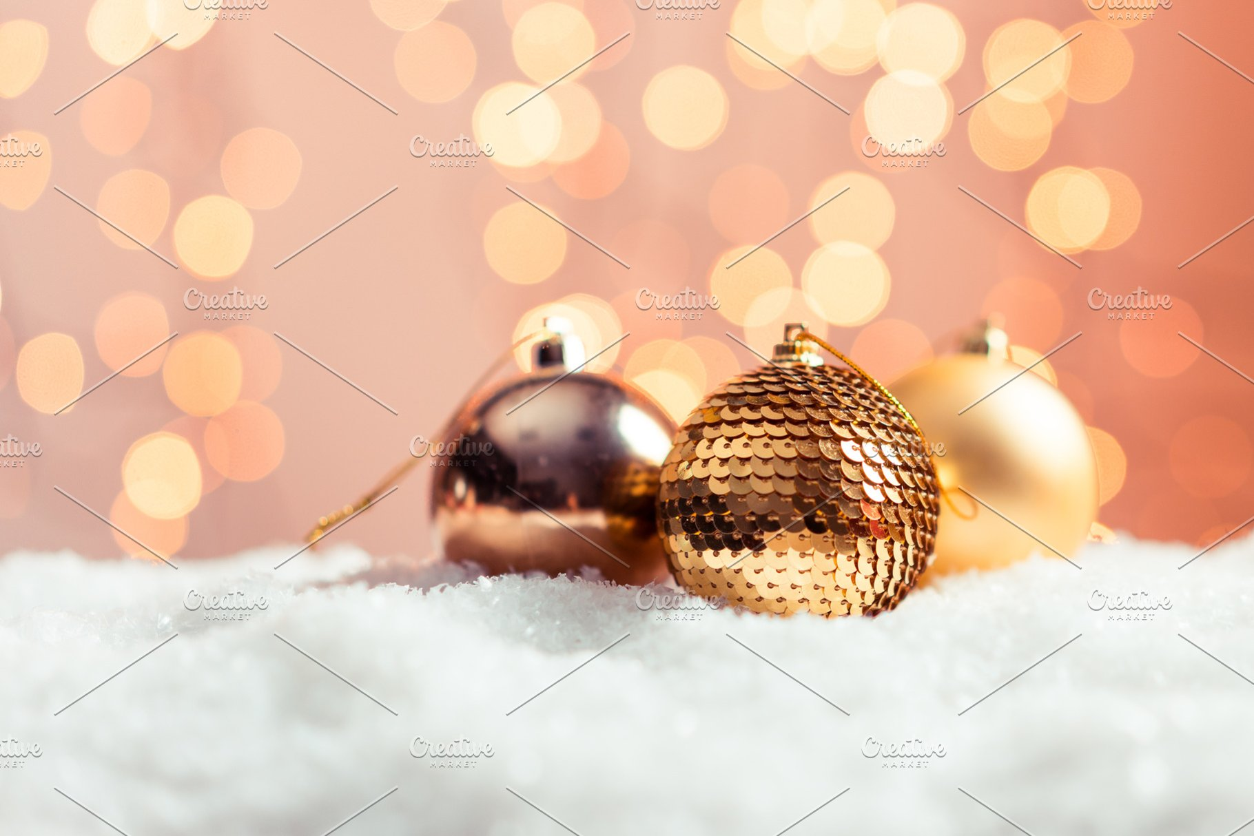 Beautiful Christmas Background.Christmas Background With Gold Balls