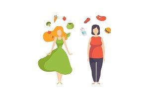 Healthy food vs unhealthy food, fat