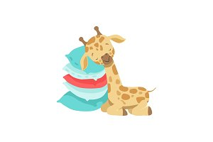 Cute little giraffe sleeping on a