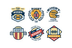 Rugby league logo design set