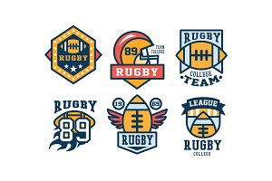 Rugby team logo design set, vintage