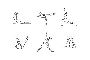 Yoga asanas linear icons set, women