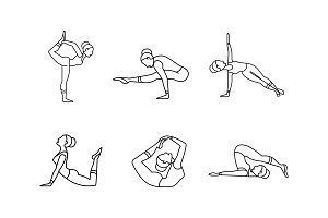 Yoga asanas linear icons set, girl