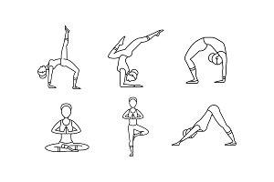 yoga asanas flat icons set  predesigned illustrator
