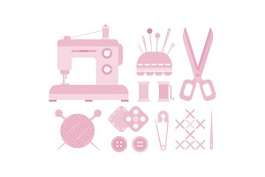 Sewing and needlework icons set