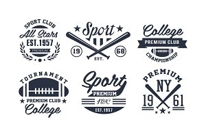 Sport premium club logo design set