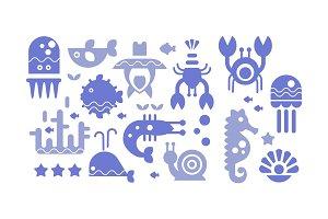Marine life blue icons set, cute