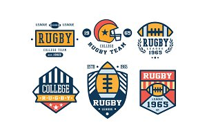 Rugby college team logo design set