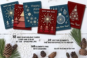 Christmas Card Set & 148 elements