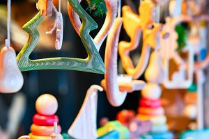 Stall with wooden toys