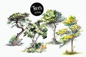 Watercolor Trees Clip Art Set