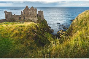 Dunluce castle on the cliff. Irish