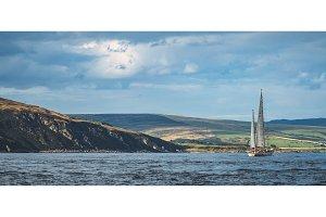 Irish shoreline panorama. Lone