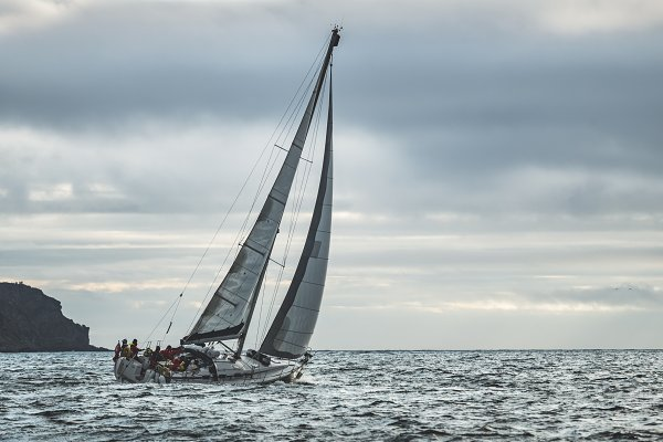 Transportation Stock Photos: Volodymyr.Goinyk - Close-up lone yacht sailing in the