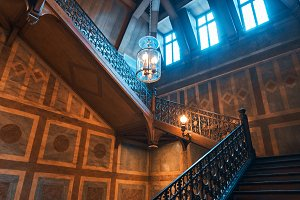 Medieval wooden staircase in a palac