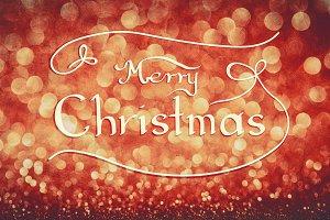 MERRY CHRISTMAS handwriting on red b