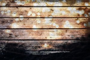 Wooden plank background with lights