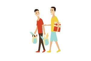 Vector cartoon Shopping People with