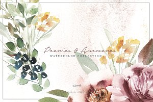 Elegant Peonies and Anemones