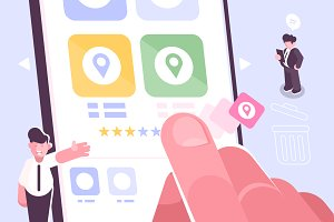 Hand putting star for rating of app