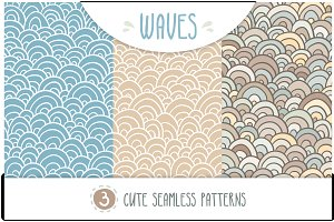WAVES - set of 3 seamless patterns