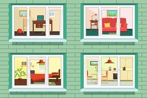 Vector window view of flat design