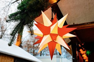 Star lantern decoration on Christmas