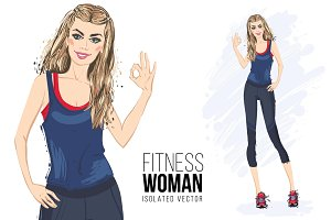 Fitness woman Fashion illustration